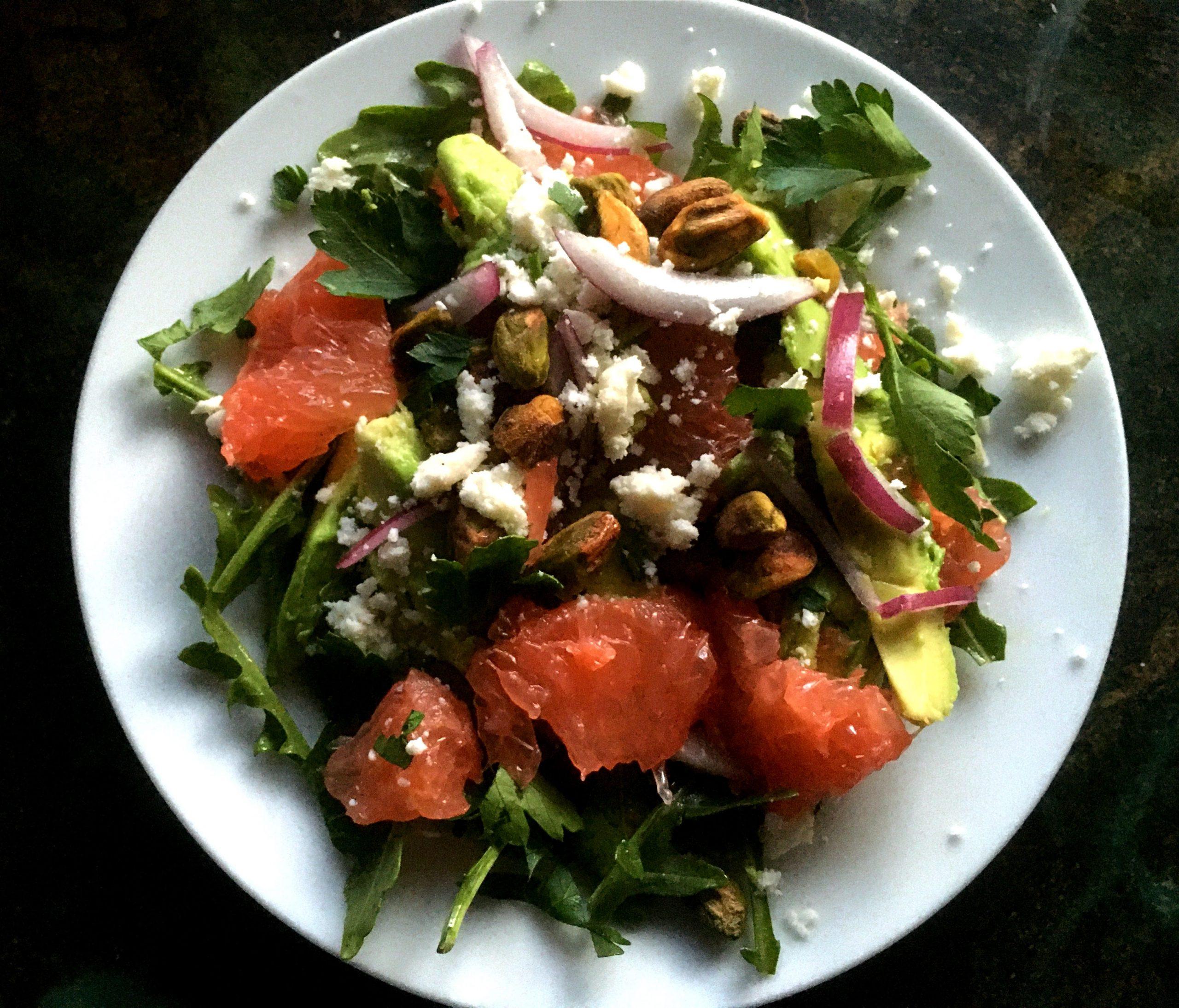 Grapefruit, Avocado, and Pistachio Salad, serves 2