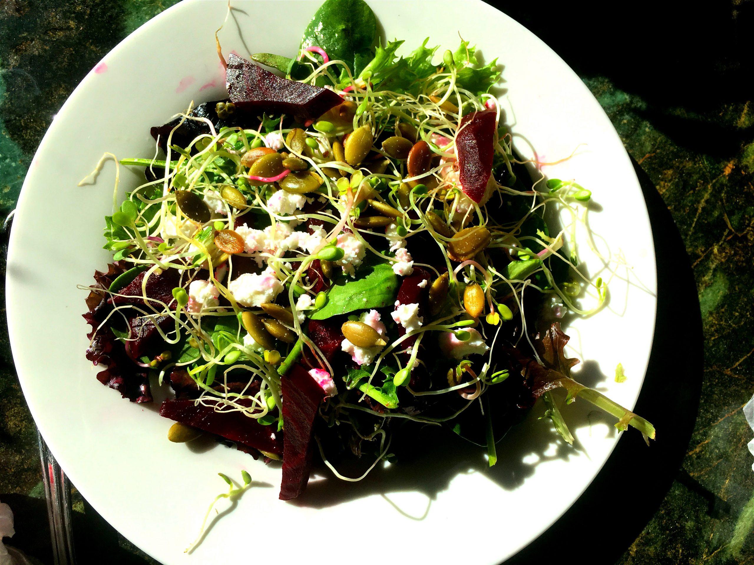 Roasted Beet Salad with Feta and Pepitas,